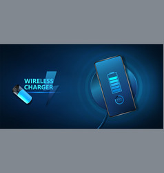 wireless charging smartphone battery vector image