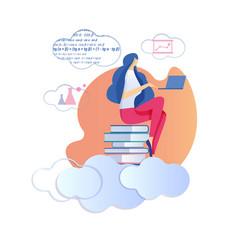 Woman sitting on pile books study mathematics vector