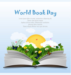 World book day with open book and green grass vector