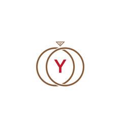 y letter ring diamond logo vector image