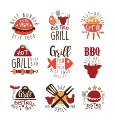Best Grill Bar Promo Signs Series Of Colorful vector image vector image