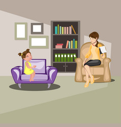girl talking with psychologist vector image