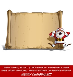 Happy Santa Scroll Jumping in ecstasy with Open vector image vector image