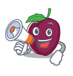 with megaphone plum character cartoon style vector image vector image