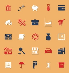 Banking and financial classic color icons with vector image vector image