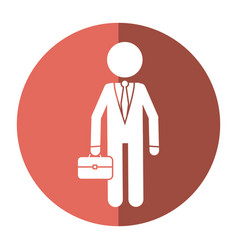 character business man with suit portfolio shadow vector image