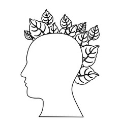figure human with leaves icon vector image