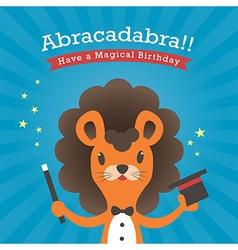 Happy birthday card with lion cartoon vector image vector image