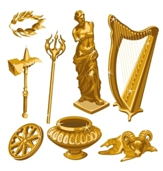 Harp statue weapons and other items of antiquity vector image vector image