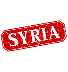 syria red square grunge retro style sign vector image