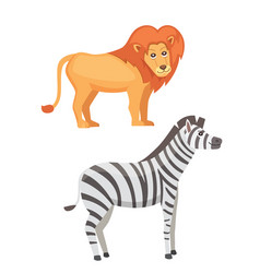 african animals cartoon set lion and zebra vector image vector image