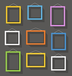 Blank picture frame set on the wall Template for a vector image vector image