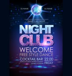 disco ball background disco poster night club vector image vector image