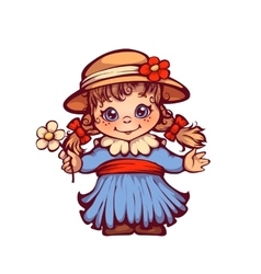 Girl in dress and hat for Festa Junina party vector image vector image