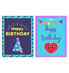 Happy birthday cap cards set vector
