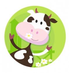 happy cow character farm animal vector image vector image