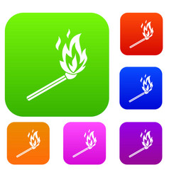 match flame set collection vector image