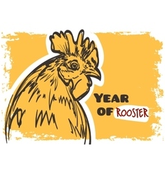 rooster art Symbol of year 2017 on grunge vector image vector image