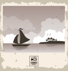 Sepia color poster seaside with yacht and summer vector