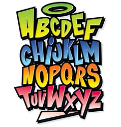 Funky colorful cartoon font type alphabet vector image vector image