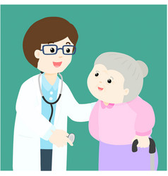 grandmother cartoon see doctor vector image vector image