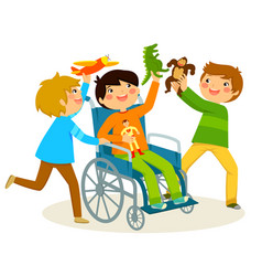 playing in a wheelchair vector image vector image