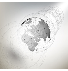 Three-dimensional dotted world globe with abstract vector image