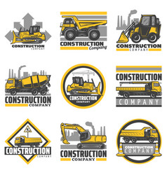 vintage colored construction vehicles emblems set vector image