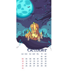 2021 calendar october funny cartoon pumpkin vector