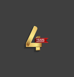 4 years anniversary simple design with golden vector