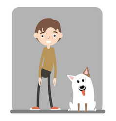 A handsome boy standing with his dog vector
