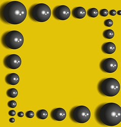 Abstract black spheres on the yellow background vector image