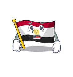 Afraid flag egypt folded in mascot cupboard vector