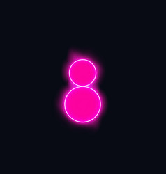 Alphabets number 8 eight of blue neon with smoke vector
