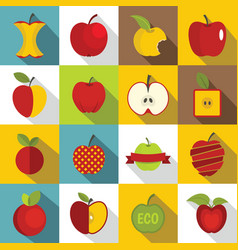 Apple icons set design logo flat style vector