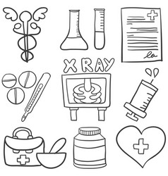 Art of medical object doodles vector