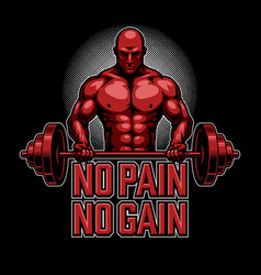 bodybuilding poster in red vector image