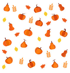 bright cartoon pattern with pumpkins and leaves vector image