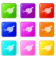 bull snake icons set 9 color collection vector image