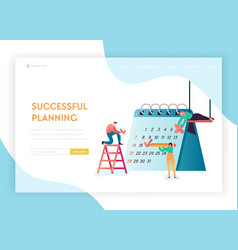 Business planning schedule landing page template vector