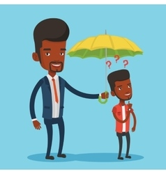 Businessman holding umbrella over young man vector