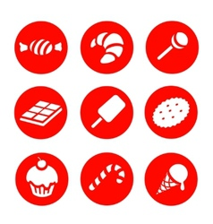 Candy and Sweets icons set vector image