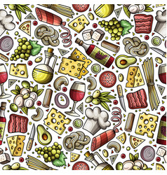 Cartoon cute hand drawn italian food seamless vector