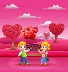 cartoon of boys holding lots of balloons for girls vector image