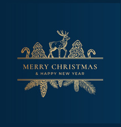 Christmas frame banner with vintage typography vector