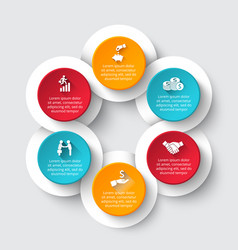 Circle infographic with 6 options or parts vector