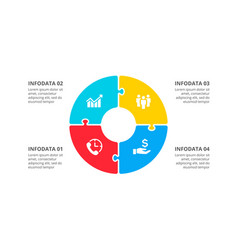 circle puzzle infographic with 4 options vector image