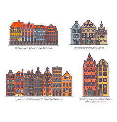 colorful buildings on canal square europe vector image
