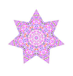 Colorful isolated floral ornament star logo vector