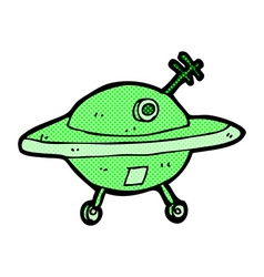 comic cartoon flying saucer vector image